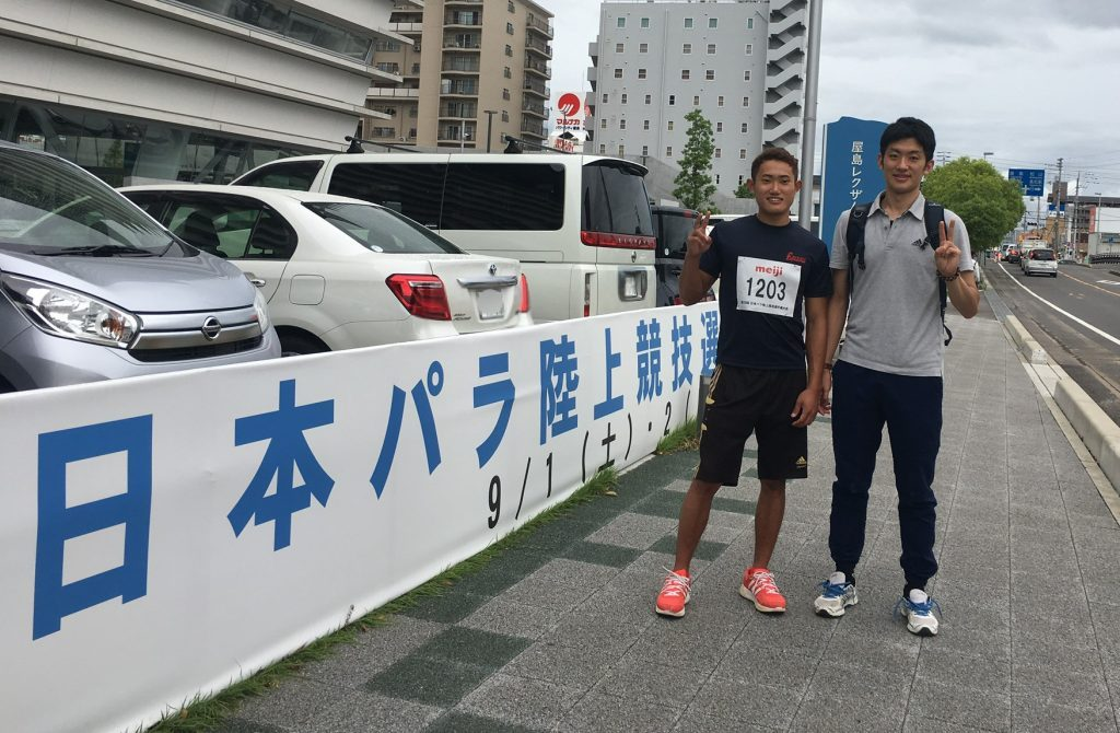 日本パラ陸上に参加した若生くん(左)と高橋(右)