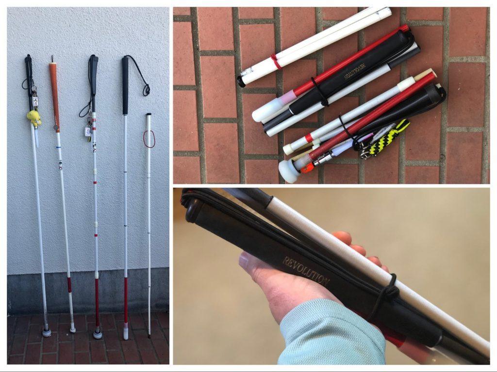 白杖を並べて撮影した画像