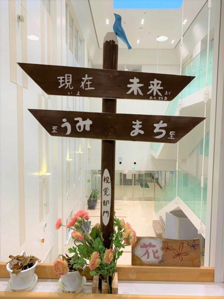 木製の十字の形をしたオブジェで、右側を示す矢印には「未来まであと20歩、まちに至る」左側には「現在、うみに至る」と書かれている画像。