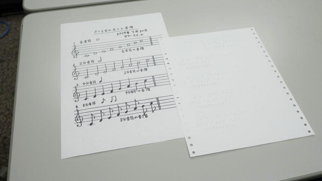 机の上に点字の楽譜と墨字の楽譜が置かれている画像。