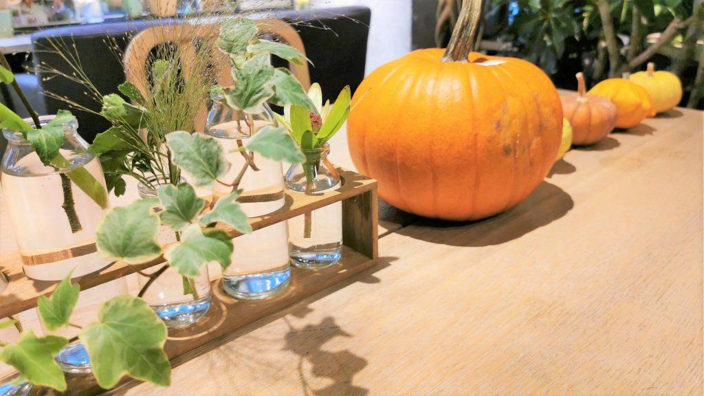 カフェの机の上にビーカーに入った植物とかぼちゃが置かれている画像