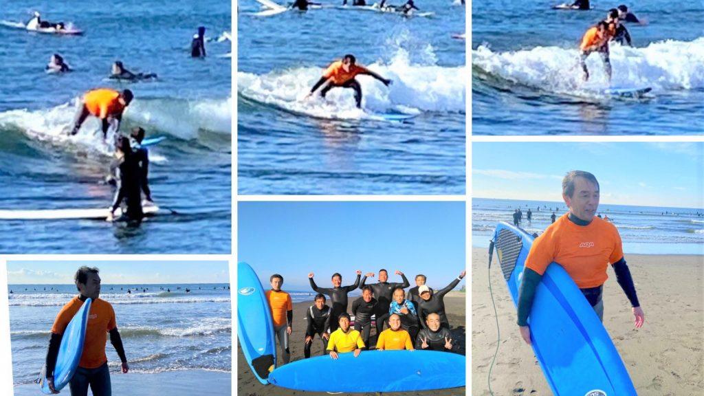 サーフィンを行う葭原さんの画像複数枚を1枚にまとめたコラージュ画像。