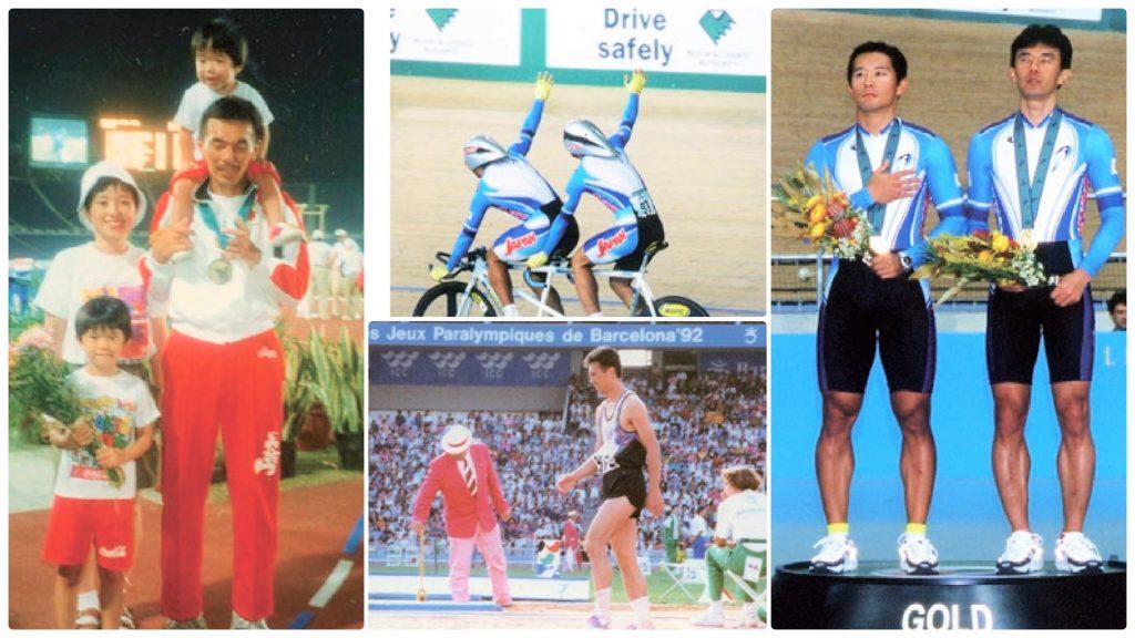 家族4人での写真、自転車競技中の写真、表彰台の写真を1枚の画像にしたコラージュ画像。