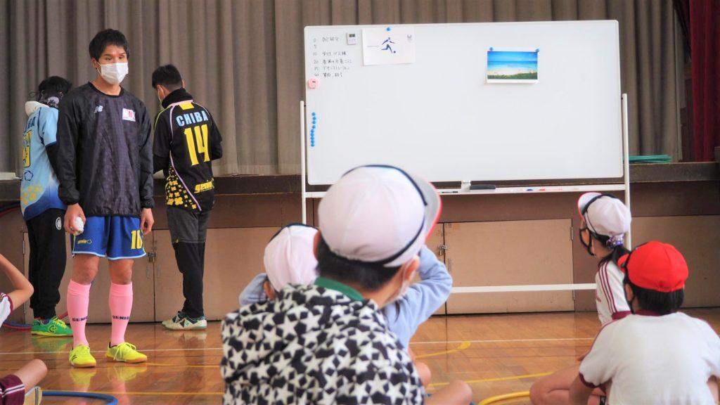 ホワイトボードに写真を貼って、視覚障害者の選手に子どもたちが写真の説明をしている画像。