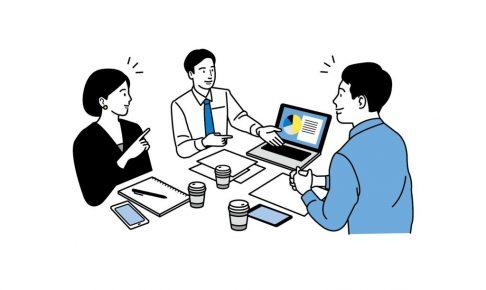 会議室でパソコンを見ながら3人が議論しているイラスト