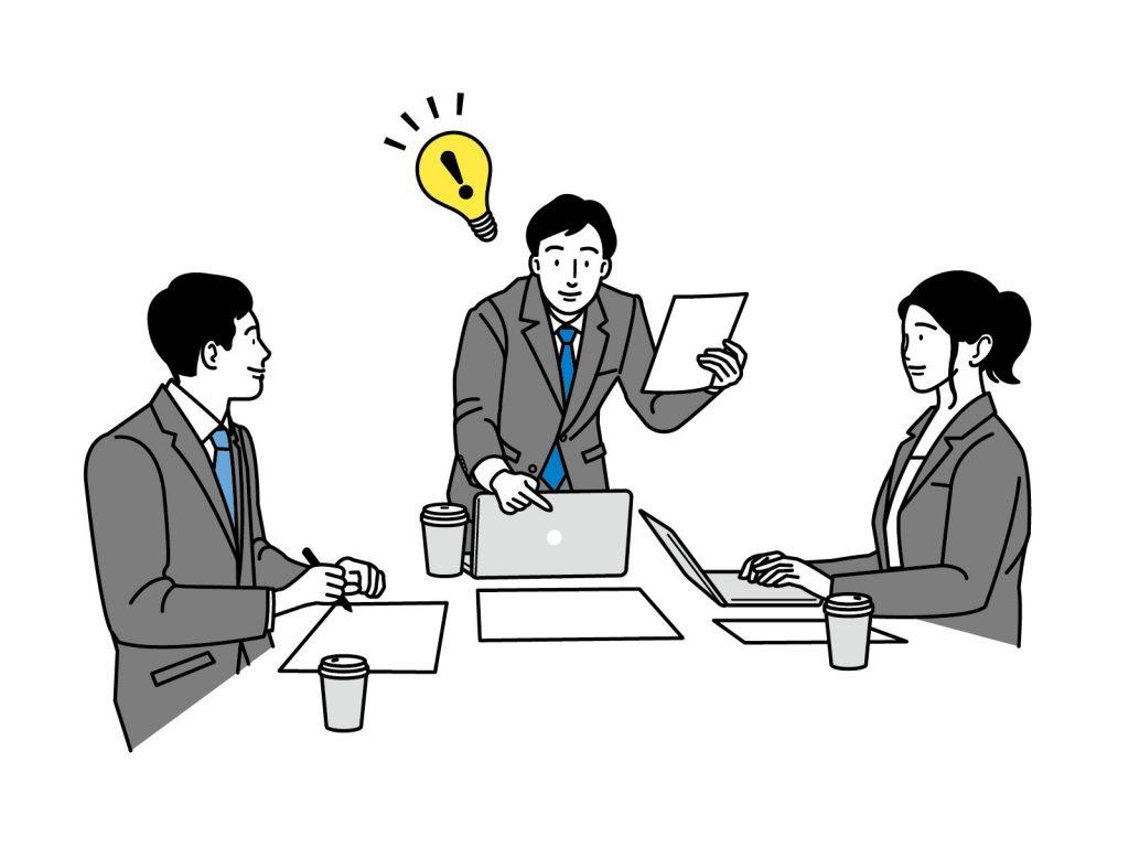 会議室でスーツの男性3人が話し合っているイラスト